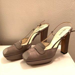Prada satin block heels